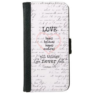 Vintage Love Bible Verse iPhone 6 Wallet Case