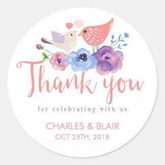 Vintage Love Bird Floral Thank You Wedding Sticker