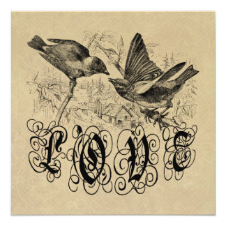 Vintage Love Birds Apparel and Gifts 13 Cm X 13 Cm Square Invitation Card