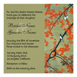 Vintage Love Birds Autumn Wedding Invitation