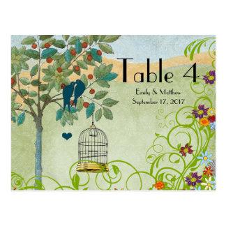 Vintage Love Birds & Bird Cage Wedding Number Card Postcard