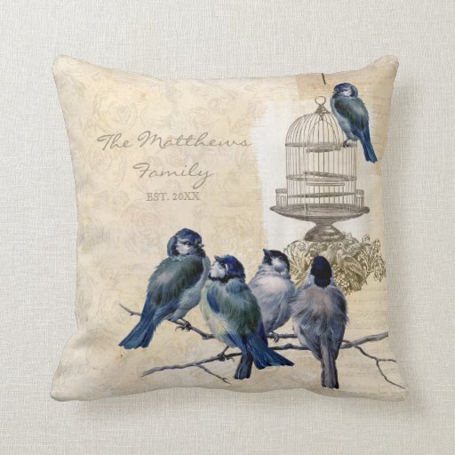 Vintage Love Birds Birdcage Family Personalized Throw Pillows