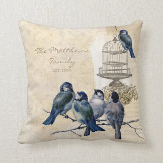 Vintage Love Birds Birdcage Family Personalized Throw Cushion