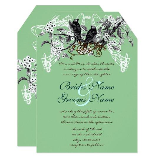 Vintage Love Birds Blooming Branch Wedding Card