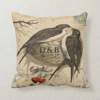 Vintage Love Birds Nest French Decor Wedding Date Cushion