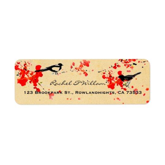 Vintage Love Birds Sakura Spring Wedding Return Address Label