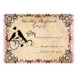 Vintage Love Birds Scroll Frame Wedding RSVP Cards Personalized Invitations