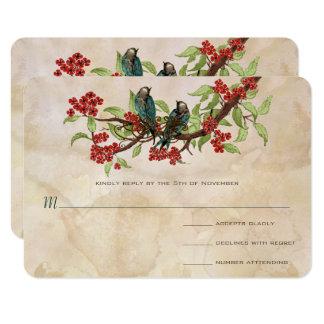 Vintage Love Birds Tea Stain Wedding RSVP Card