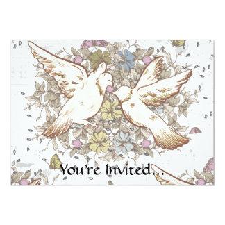 Vintage Love Birds, Two White Doves Floral 13 Cm X 18 Cm Invitation Card