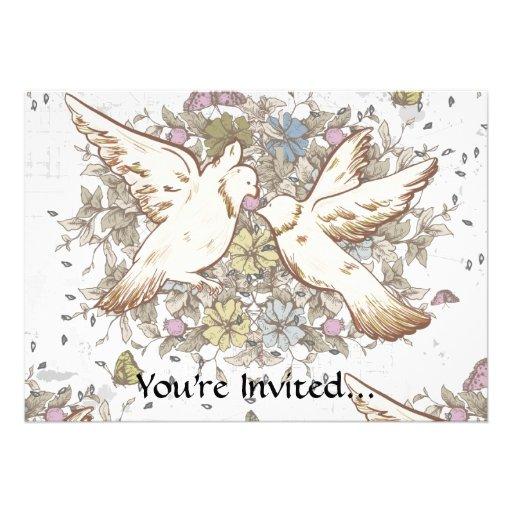 Vintage Love Birds, Two White Doves Floral Invites