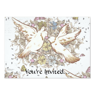 Vintage Love Birds, Two White Doves Floral 5x7 Paper Invitation Card