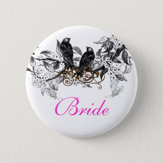 Vintage Love Birds Wedding Badges