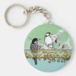 Vintage Love Birds Wedding Invitation Basic Round Button Key Ring