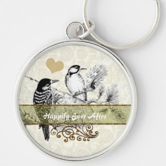 Vintage Love Birds Wedding Invitation Silver-Colored Round Key Ring
