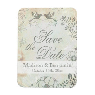 Vintage Love Birds Wedding Save the Date Magnet