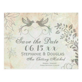 Vintage Love Birds Wedding Save the Date Postcards