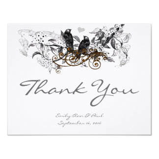 Vintage Love Birds White Floral Wedding Thank You Card