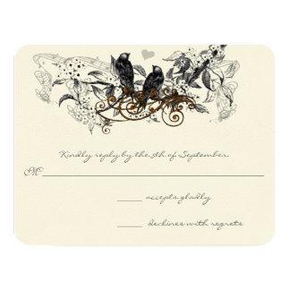 Vintage Love Birds White Flowers Branch Wedding 11 Cm X 14 Cm Invitation Card