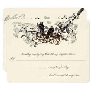 Vintage Love Birds White Flowers Branch Wedding Card