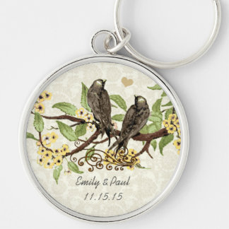 Vintage Love Birds Yellow Flower Wedding Key Chain