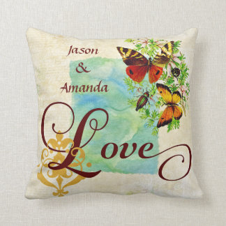 Vintage Love Butterflies and Damask With Name Throw Pillow