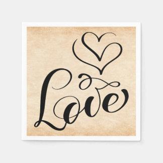 Vintage Love Hearts Distressed Brown Wedding Party Disposable Serviette