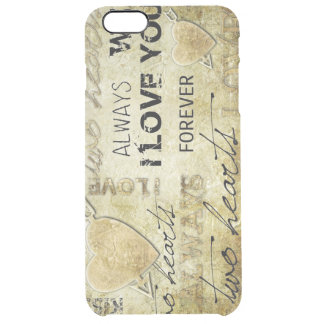 vintage love hearts textures clear iPhone 6 plus case