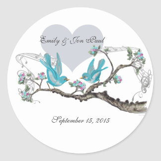 Vintage Love Hot Pink Aqua  Birds Wedding Stickers