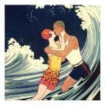 Vintage Love in the Surf Beach Wedding Invitation