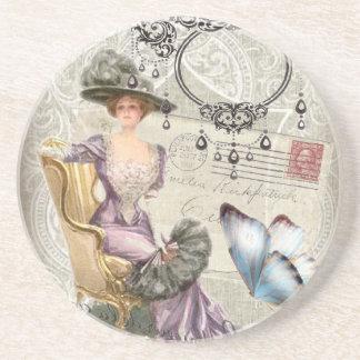 vintage love letter Vintage Paris Lady Fashion Beverage Coasters