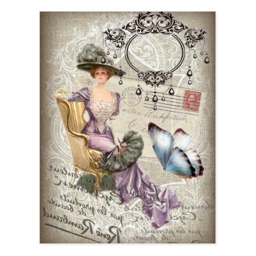 vintage love letter Vintage Paris Lady Fashion Post Cards
