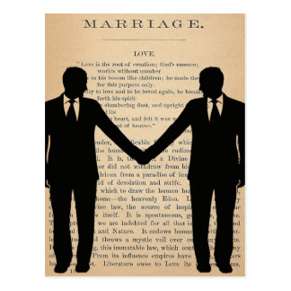 Vintage Love & Marriage Gay Wedding Longfellow Postcard