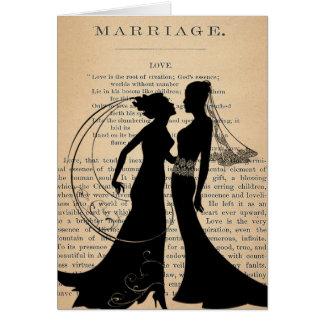 Vintage Love & Marriage Lesbian Wedding Longfellow Card