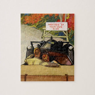 Vintage Love, Road Closed Proceed at Your Own Risk Jigsaw Puzzle