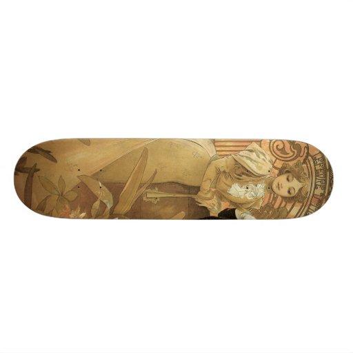 Vintage Love Romance, Art Nouveau, Alphonse Mucha Skateboard