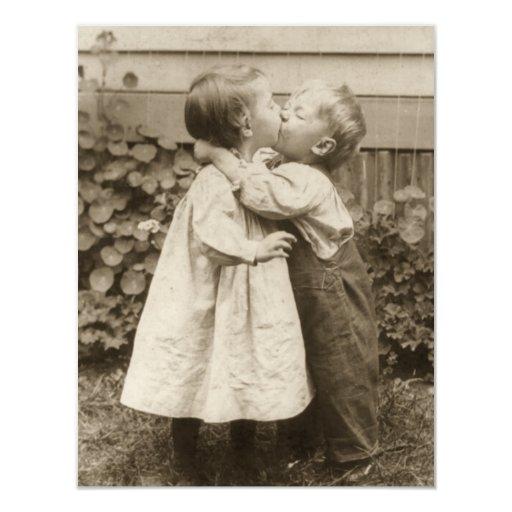 Vintage Love Romance, Children Kissing, First Kiss 11 Cm X 14 Cm Invitation Card