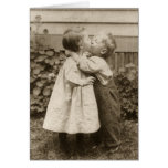 Vintage Love Romance, Children Kissing, First Kiss Greeting Card