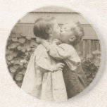 Vintage Love Romance, Children Kissing, First Kiss Coaster