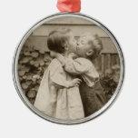 Vintage Love Romance, Children Kissing, First Kiss Christmas Ornament
