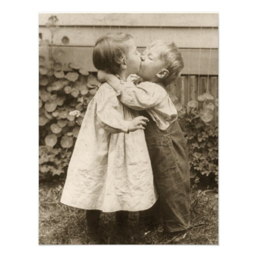 Vintage Love Romance, Children Kissing, First Kiss Custom Invitation