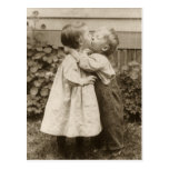 Vintage Love Romance, Children Kissing, First Kiss Post Card