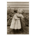 Vintage Love Romance, Children Kissing, First Kiss Print