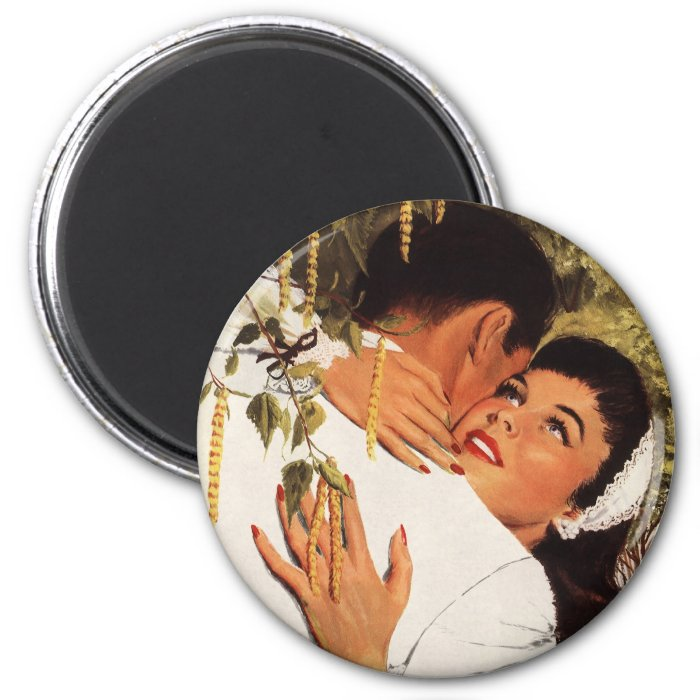 Vintage Love Romance, Couple in a Loving Embrace 6 Cm Round Magnet
