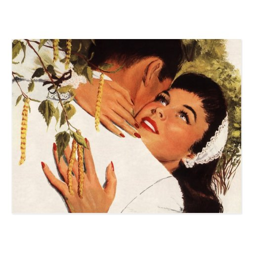 Vintage Love Romance, Couple in a Loving Embrace Postcards