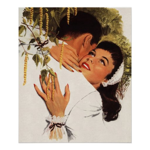 Vintage Love Romance, Couple in a Loving Embrace Poster
