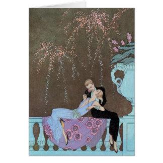 Vintage Love Romance, Fireworks Romantic Kiss Card