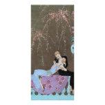 Vintage Love Romance, Fireworks Romantic Kiss Customised Rack Card