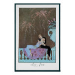 Vintage Love Romance, Fireworks Romantic Kiss Poster