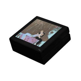 Vintage Love Romance, Fireworks Romantic Kiss Small Square Gift Box