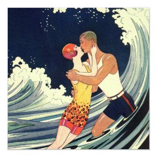 Vintage Love Romance Romantic Kiss Beach Wedding 13 Cm X 13 Cm Square Invitation Card